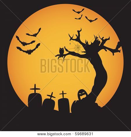 Grunge Halloween night background