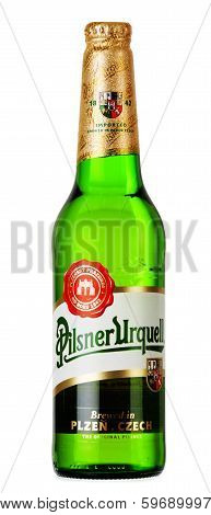 Bottle Of Pilsner Urquell Beer Isolated On White