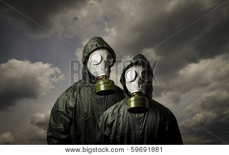 Adam And Eve. Gas Masks.