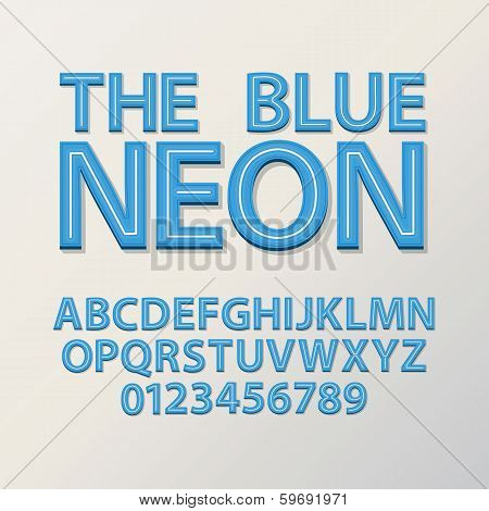 Abstract Blue Neon Font And Numbers, Eps 10 Vector