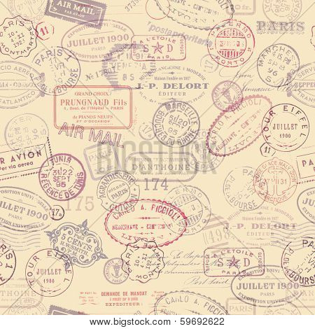 seamlessly tiling postage themed pattern with vintage stamps poster