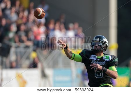 VIENNA,  AUSTRIA - APRIL 21 QB Jonathan Dally (#8 Dragons) throws the ball during the AFL football game on April 21, 2013 in Vienna, Austria.