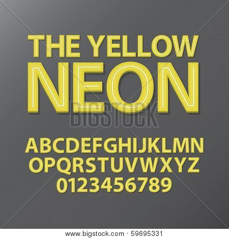 Abstract Yellow Neon Font And Numbers, Eps 10 Vector