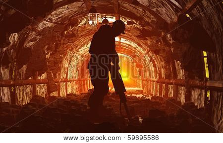 Silhouettes of workers in the mine.