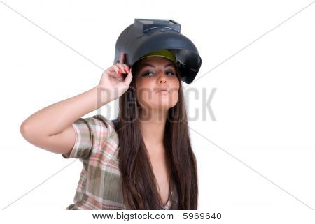 Frau in schwarz Welder Maske