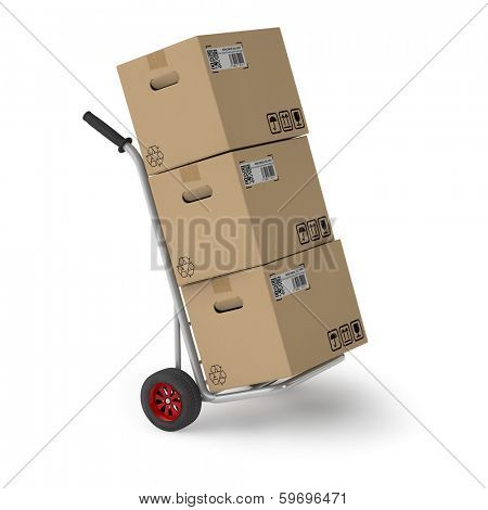 Three shipping boxes on hand truck of a parcel service
