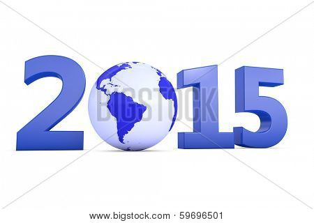 Year 2015 with a blue earth as a zero