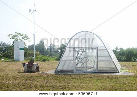 Sauna Room To Dry Plant And Windmill.