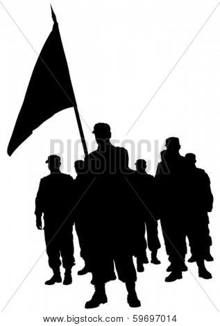 Soldiers people with large flags