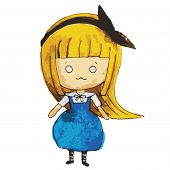 stock photo of chibi  - Chibi Alice who love goes to Wonderland - JPG