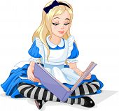 stock photo of alice wonderland  - Alice in Wonderland reading a book - JPG