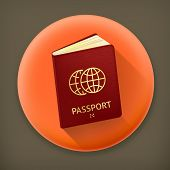 Passport, long shadow vector icon
