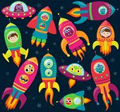 stock photo of spaceships  - Vector Collection of Retro Style Rocketships and Spaceships with Aliens - JPG