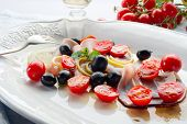 picture of swordfish  - swordfish carpaccio with sliced tomatoes - JPG