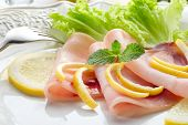 image of swordfish  - swordfish carpaccio with green salad - JPG