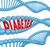 image of medical condition  - Diabetes Word DNA Strand Cure Medical Research - JPG