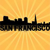 San Francisco skyline reflected with sunburst illustration