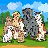 stock photo of bull-mastiff  - Cartoon Illustrations of Funny Purebred Dogs Characters Group - JPG