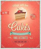 stock photo of fancy cake  - Vintage Cakes Poster - JPG