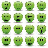stock photo of smiley face  - vector collection of alien faces  - JPG