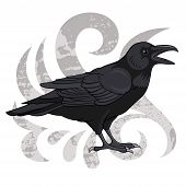 foto of raven  - Cartoon vector illustration of a black raven - JPG