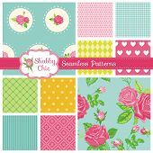 stock photo of shabby chic  - Set of Seamless Patterns and Backgrounds  - JPG