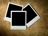 picture of polaroid  - Polaroid Film Vintage empty photo cards on paper background - JPG