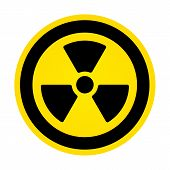 picture of radium  - Round Yellow Hazard Radioactivity Sign - JPG