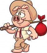 Little cartoon farmer pig. Vector clip art illustration with simple gradients. All in a single layer