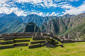stock photo of lamas  - Industrial zone and Main Square Machu Picchu - JPG