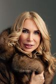 Beauty Fashion Woman In Fur Coat Winter.