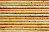 image of log fence  - Background wall from new pine logs photo - JPG