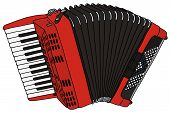image of accordion  - hand drawing of a red classical accordion - JPG