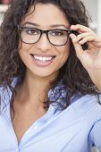 picture of geek  - Smiling happy beautiful young woman or girl wearing geek glasses - JPG
