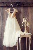 Pretty dress and table with pearl jewellery - vintage tone effect