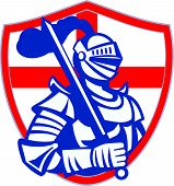 image of knights  - Illustration of an English knight in full armor holding sword with England flag in background done in retro style - JPG