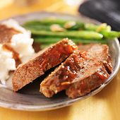 stock photo of meatloaf  - meatloaf with greenbeans and mashed potatoes - JPG