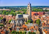 image of salvation  - Aerial view of Saint Salvator Cathedral Old Town of Bruges Belgium - JPG