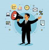 stock photo of motivation talk  - Cartoon man with megaphone and business icons - JPG