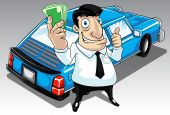 foto of payday  - Image of a man who get approval for his car loan - JPG