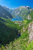 stock photo of fjord  - View To Geiranger Fjord And Eagle Road - JPG