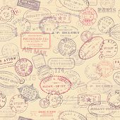 stock photo of handwriting  - seamlessly tiling postage themed pattern with vintage stamps - JPG