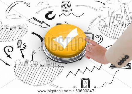 Businesswoman pointing against tick symbol on white graphic background