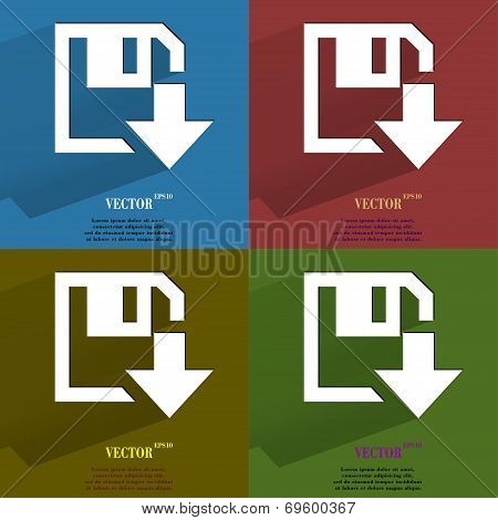 Color set floppy disk download. Flat modern web button with long shadow and space for your text