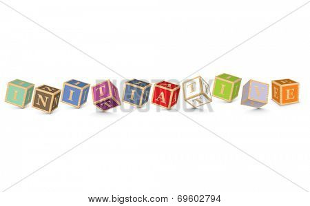 INITIATIVE written with alphabet blocks - vector illustration