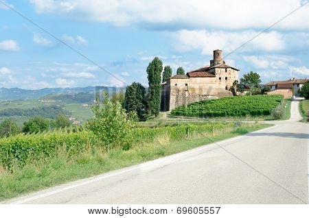 Old Castle Of La Volta, Barolo In Italy In Langhe Wineyard.