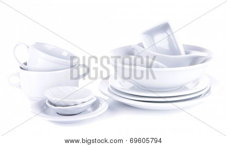 White crockery and kitchen utensils, isolated on white