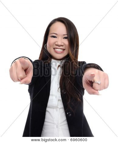 Asian Woman Pointing