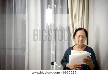 Elderly Woman In Inpatient Treatment At The Hospital