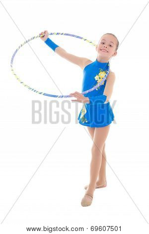 Cute Little Girl Doing Gymnastics With Hoop Isolated On White